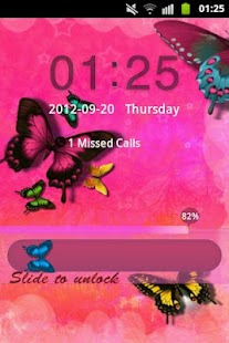 GO Locker Theme Pink Butterfly- screenshot thumbnail