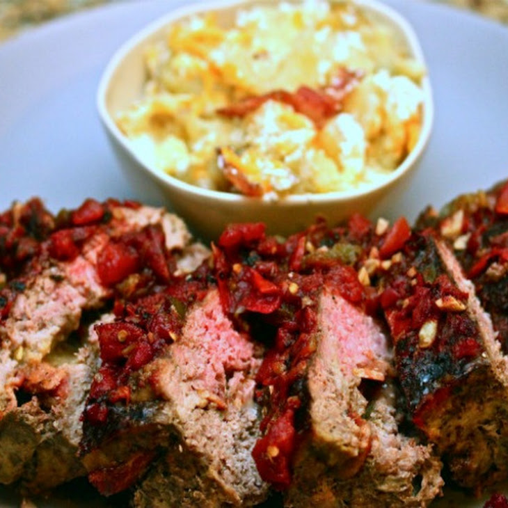 Bacon- and Gouda-Stuffed Meatloaf With Tomato Marmalade and Loaded Smashed Potatoes