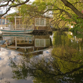 Houseboat and Reflections by Loren Masseth - Landscapes Waterscapes ( clouds, water, houseboat, canoe, lake, reflections.trees, boat, flowers,  )