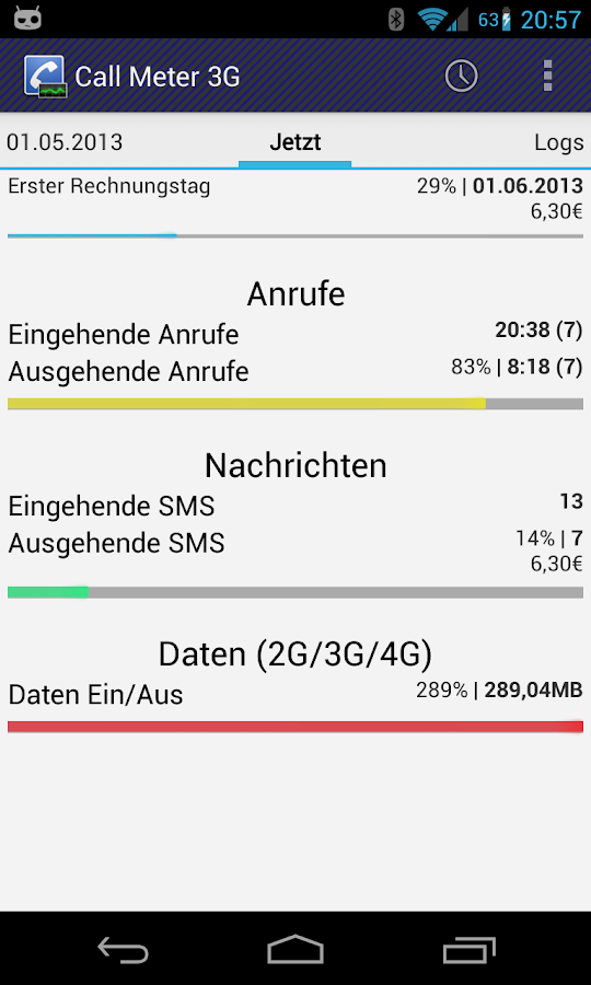 Call Meter 3G: DIE Monitor App – Screenshot