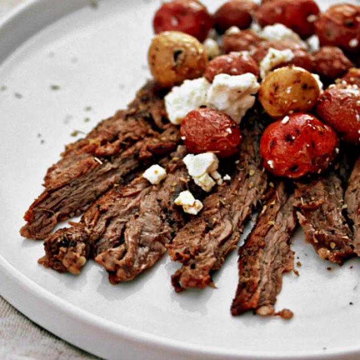 Grilled Herb Skirt Steak With Lemon-Feta Potatoes