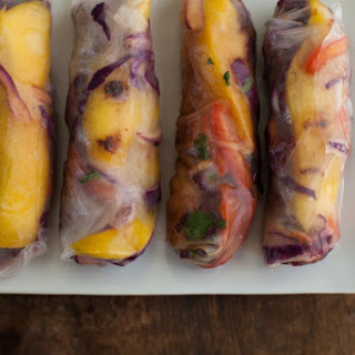 Grilled Mango and Spicy Cabbage Spring Rolls.