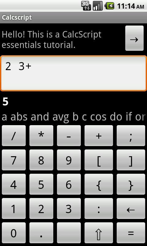 Calcscript- screenshot