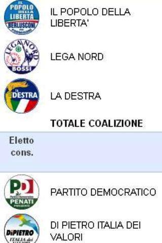 Risultati Elezioni - screenshot