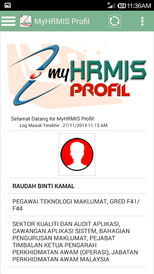 MyHRMIS Profil- screenshot