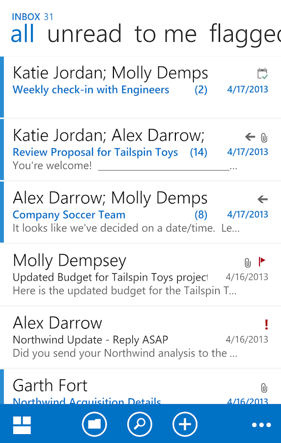 OWA for Android (Pre-Release): screenshot