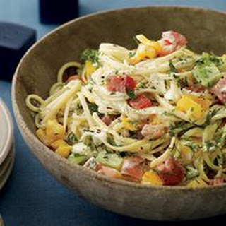 Herb Butter-and-Goat Cheese Linguine with Fresh Tomatoes Recipe