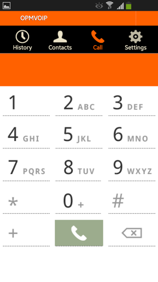 OPMVOIP low-cost calls- screenshot