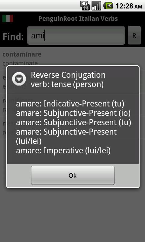 PenguinRoot Italian Verbs FREE - screenshot