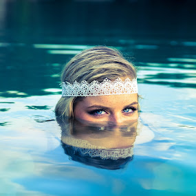 Submerged by Erica Thorpe - People Portraits of Women ( water, blonde, editorial, blue, eyes )