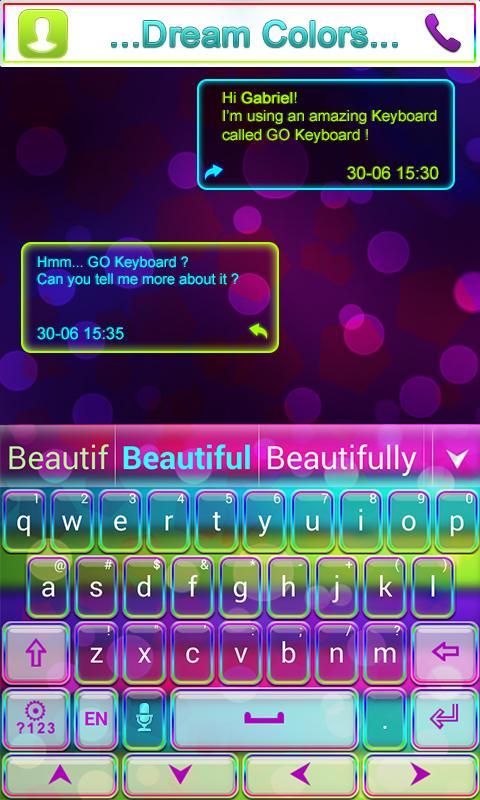 dream colors go keyboard theme screenshot - How To Change Samsung Keyboard Color