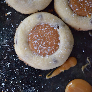 Irish Whiskey Salted Caramel Thumbprint Cookies.