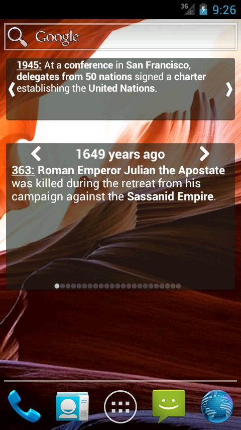 'Today in History' Widget - screenshot