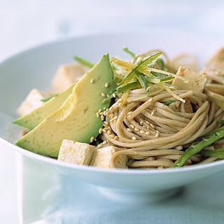 Soba Noodles with Tofu, Avocado, and Snow Peas.