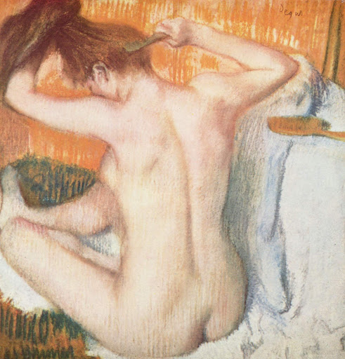 "La-Toilette-Degas-Hermitage-St-Petersburg - ""Woman Combing Her Hair"" (c. 1884–1886), pastel by Degas, at the Hermitage in St. Petersburg, Russia."
