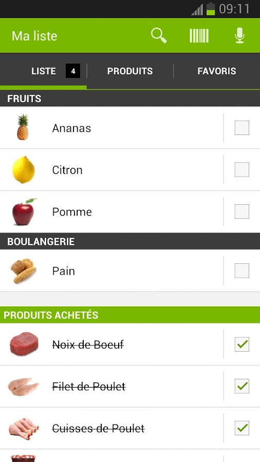 PlanCourses - Liste de courses - screenshot