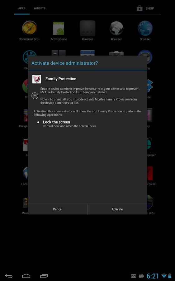 McAfee Family Protection- screenshot