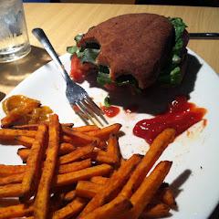 Burger with gf bun sweet potato fries delish!