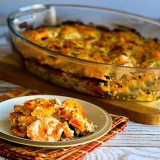 Sweet Potato Gratin with Goat Cheese, Parmesan, and Thyme.
