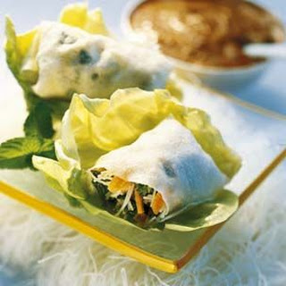 Rice Paper Rolls with Peanut Sauce.