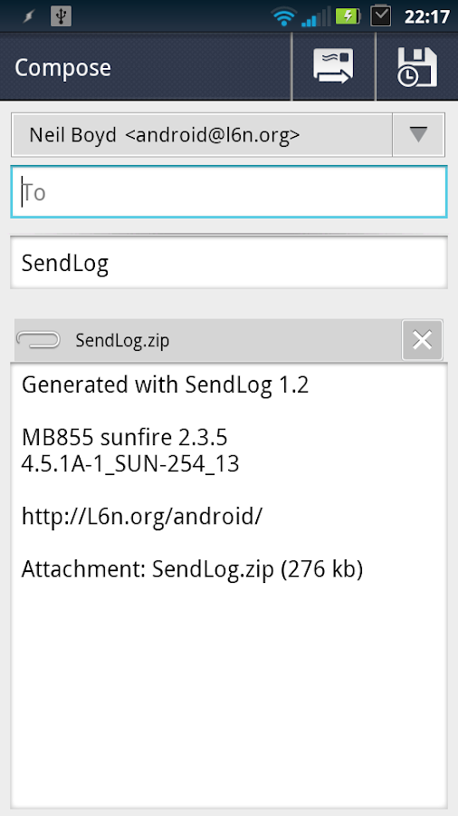 SendLog - screenshot