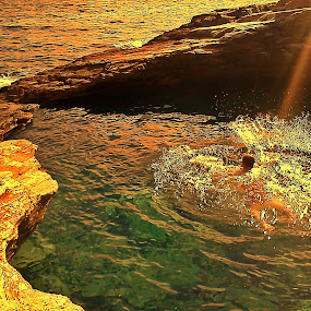 Swim under the sun by Ciprian Apetrei - Sports & Fitness Swimming ( thassos, watersports, seascape, sunlight, swimming,  )