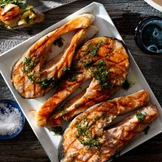 Salmon Steaks with Horseradish Vinaigrette.