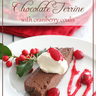 Chocolate Terrine with Cranberry Coulis.
