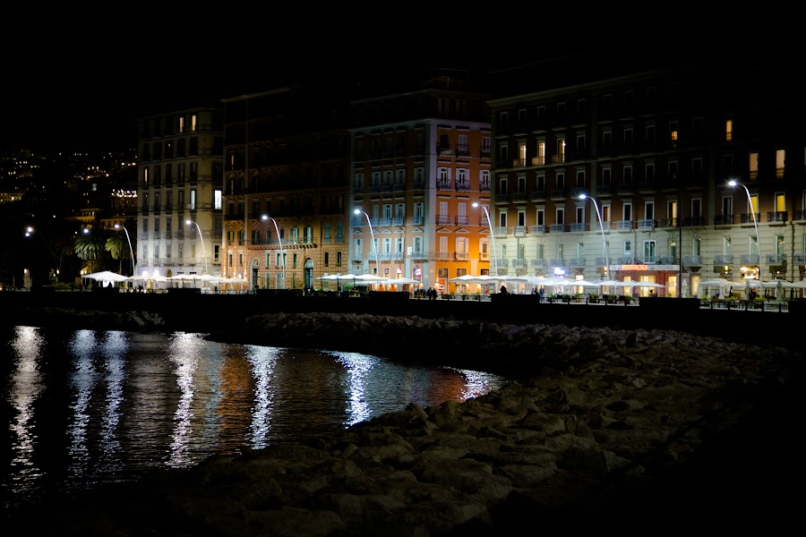 Naples Waterfront by Nina  Flynn - City,  Street & Park  Street Scenes ( seafront, naples, city view, lighting )