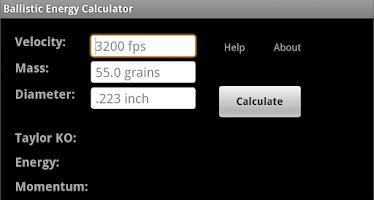 Screenshot of Ballistic Energy Calc