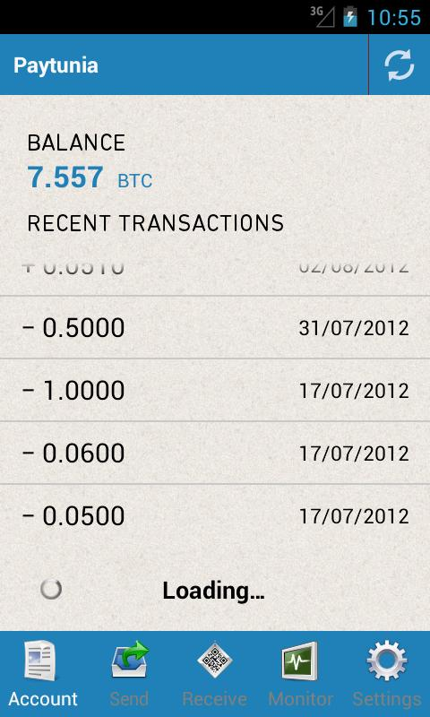 Paytunia Bitcoin Wallet - screenshot
