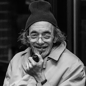 Benny by John Hoey - People Street & Candids ( smoking, street, syracuse, benny, ny, people, portrait, man, pipe, smiling, emotion, human,  )