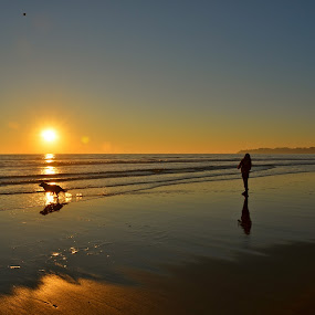 Best Friends by Kathleen Koehlmoos - Novices Only Pets ( beautiful california sunset, dog running on beach, sunset, dog on the beach, beautiful sunset, beautiful dog on the beach, a girl and her dog,  )