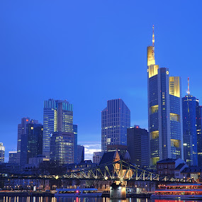 Skyline Frankfurt by Dirk Sachse - City,  Street & Park  Night ( frankfurt, sykscraper, night, nightscape, city )