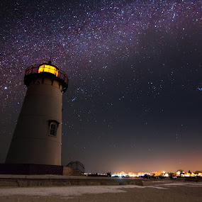Light in the Sky by Matthew Robertson - Landscapes Starscapes ( martha's vineyard, winter, stars, snow, lighthouse, night, long exposure, beach )
