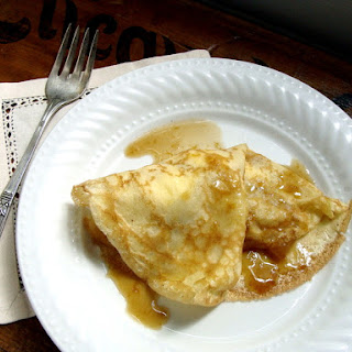 Brown Butter Apple & Ricotta Crepes with Caramel Sauce.