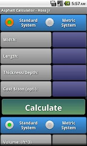 Asphalt Calculator - Hoss Jr. screenshot 1