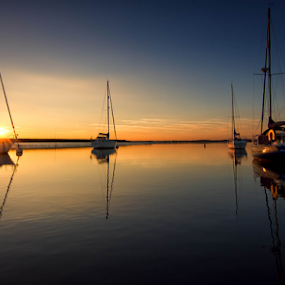 Serenity by Leigh Brooksbank - Landscapes Sunsets & Sunrises ( reflection, sunset, boats, essex & suffolk photographers, scenery, mersea )