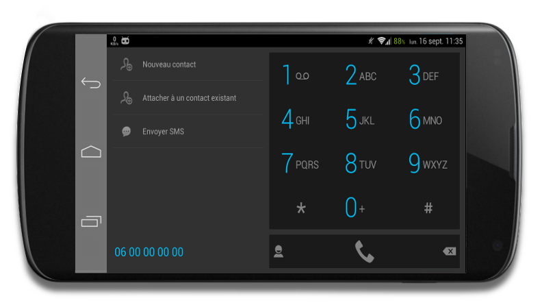 ExDialer theme Dark KitKat 4.4 - screenshot