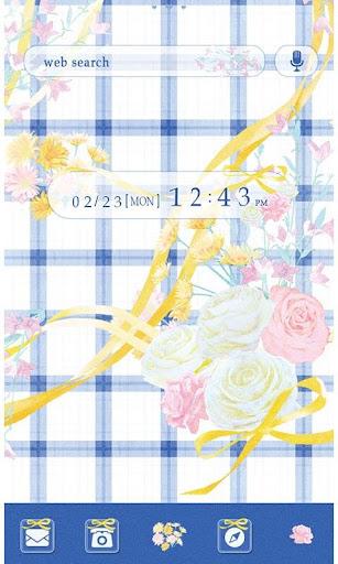 かわいい壁紙・アイコン-BLUE gingham-無料