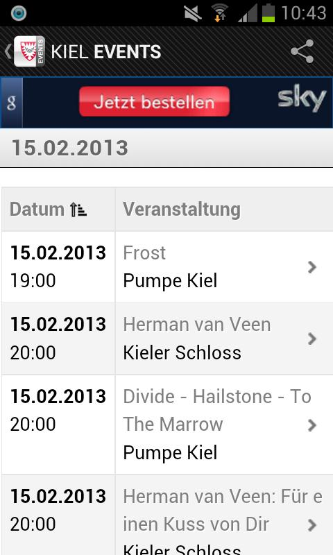 KIEL EVENTS › Eventguide- screenshot