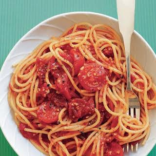Spaghetti with Three-Tomato Sauce.