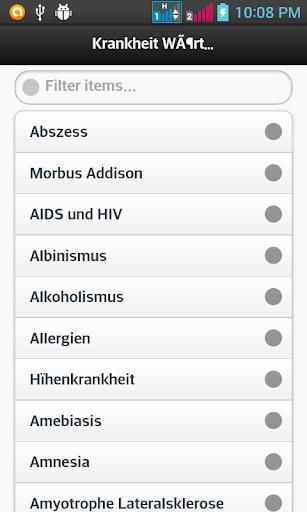 Krankheit Wörterbuch