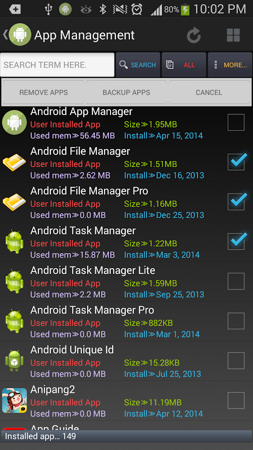 Android App Manager - screenshot