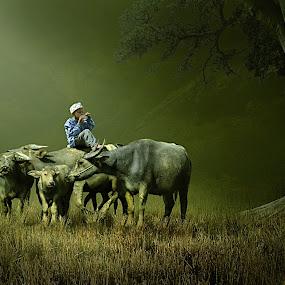 Kebersamaan by Cucu Fuang - Digital Art People ( manipulation., animals, chilidren )