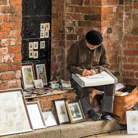 Artist in Lübeck by Franco Beccari - People Street & Candids ( lubeck, art, streets, artist, painter, Urban, City, Lifestyle,  )