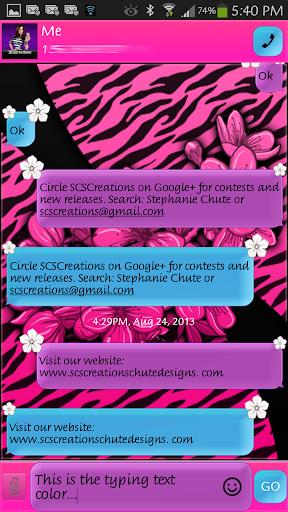 GO SMS - Zebra Blossom 3