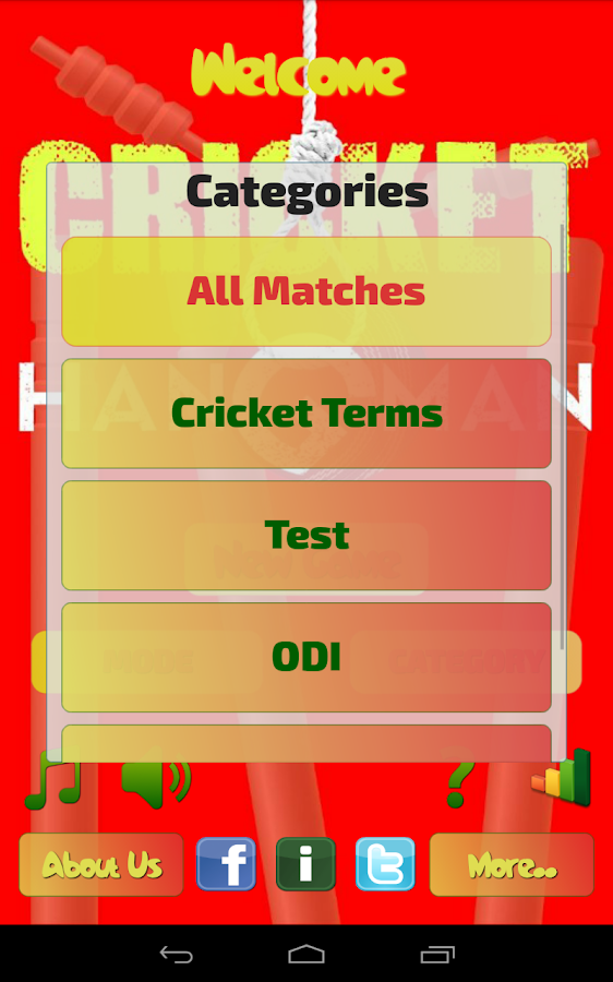 Hangman Intl' Cricket Players- screenshot