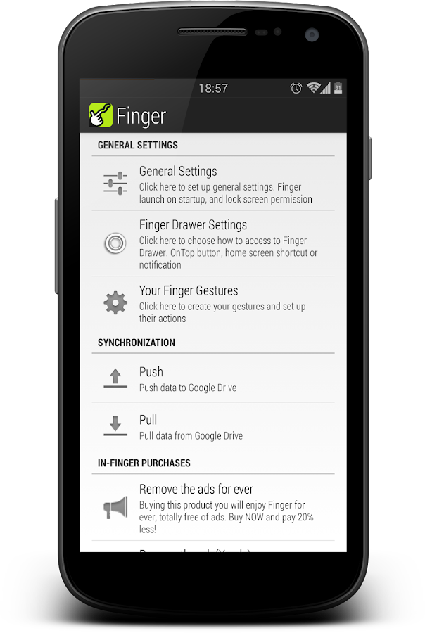 Finger ShortCuts Launcher - screenshot