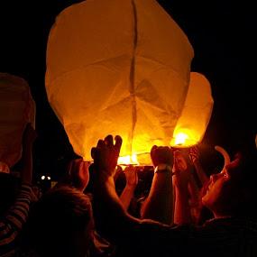 Sky lantern by Vlad Zugravel - People Street & Candids ( lantern, isolated, sky, background, warmth, night, light )